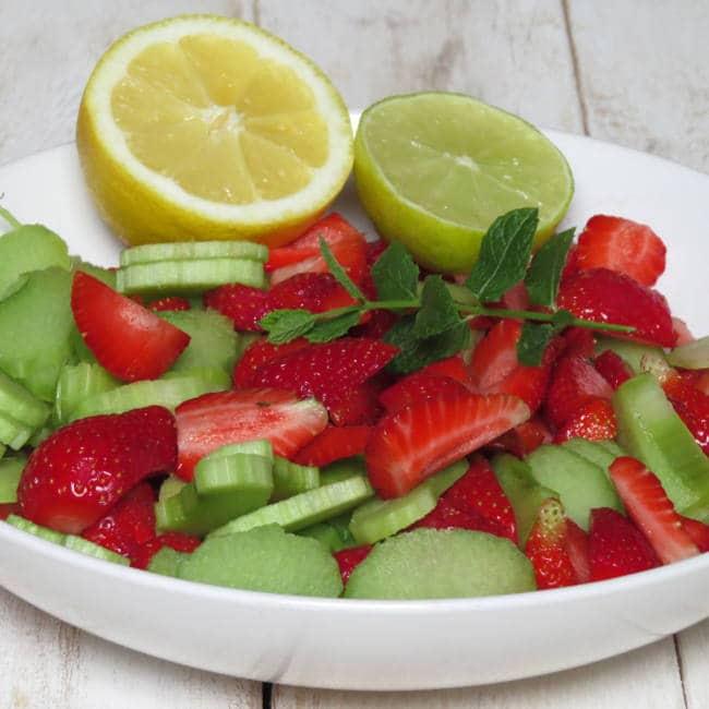 Strawberry and Rhubarb Lemonade in the Making - Vegan Heaven