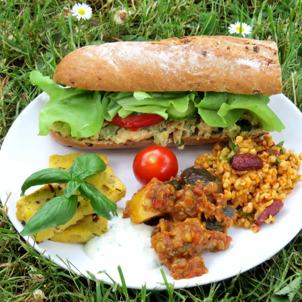 Vegan Picnic with Mediterranean Polenta and Chickpea Tuna Sandwiches