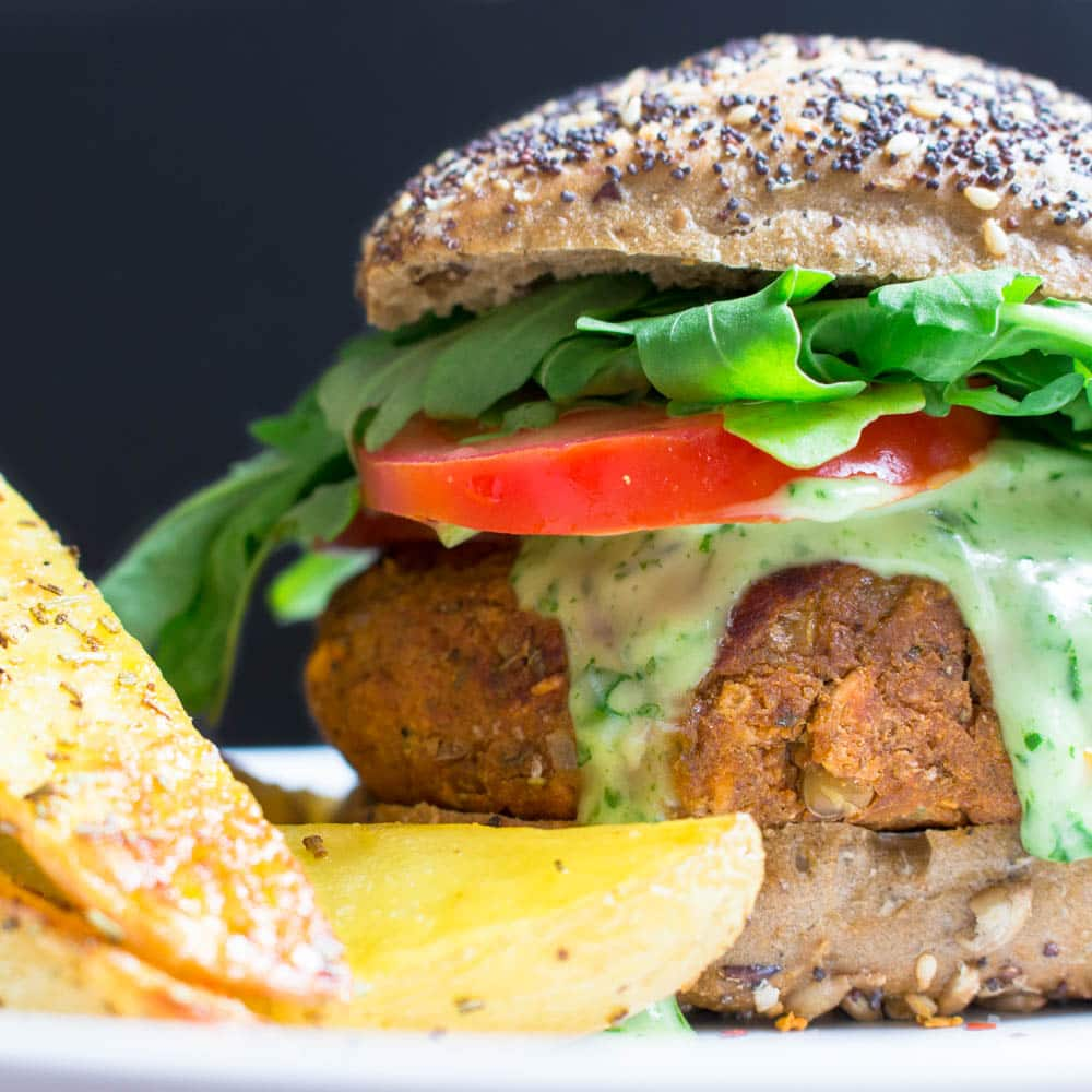 Vegan Lentil Burger with Basil Mayonnaise