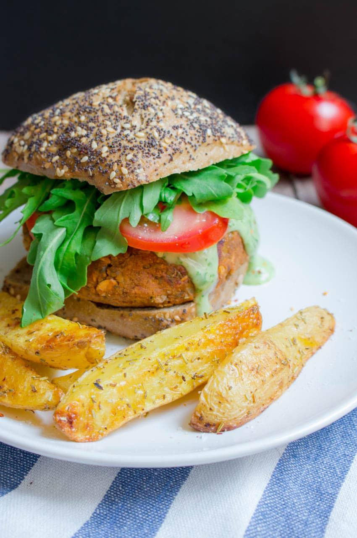 Vegan Lentil Burger with Basil Mayonnaise