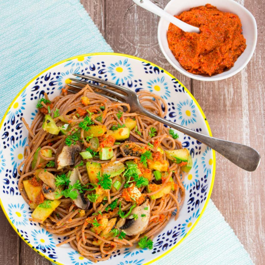 Red Bell Pepper Almond Pesto with Spaghetti