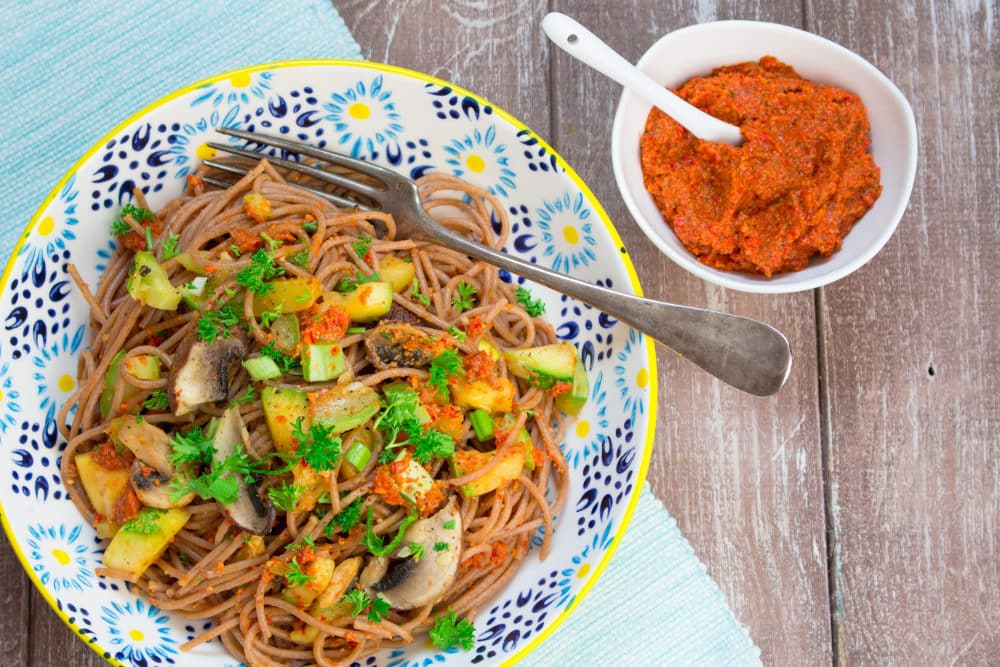 Red Bell Pepper Pesto with Spaghetti