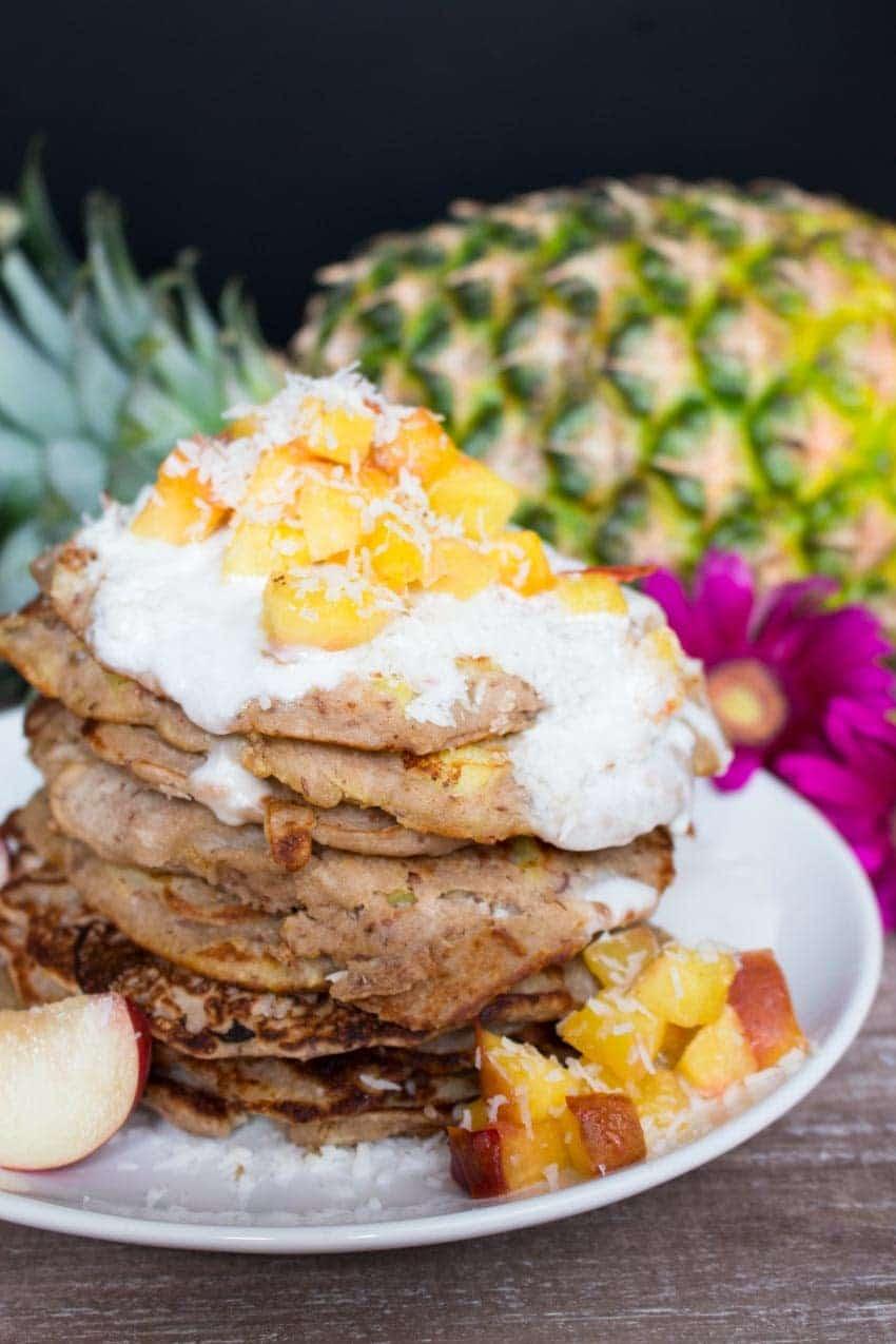 Pineapple Buckwheat Pancakes with Coconut Cream - Vegan Heaven