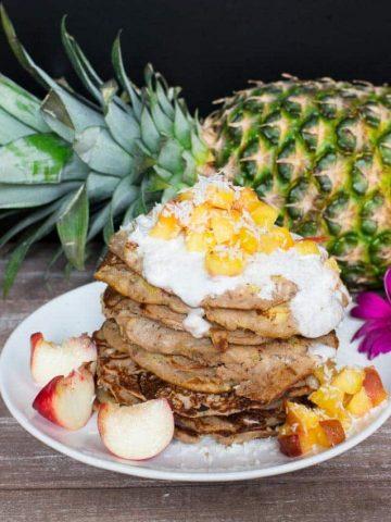 Pineapple-Buckwheat Pancakes with Coconut Cream