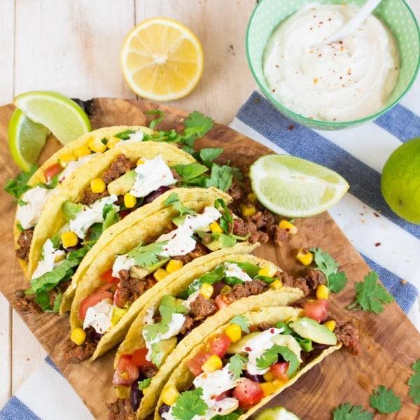 Vegan Tacos with Lentil Walnut Meat