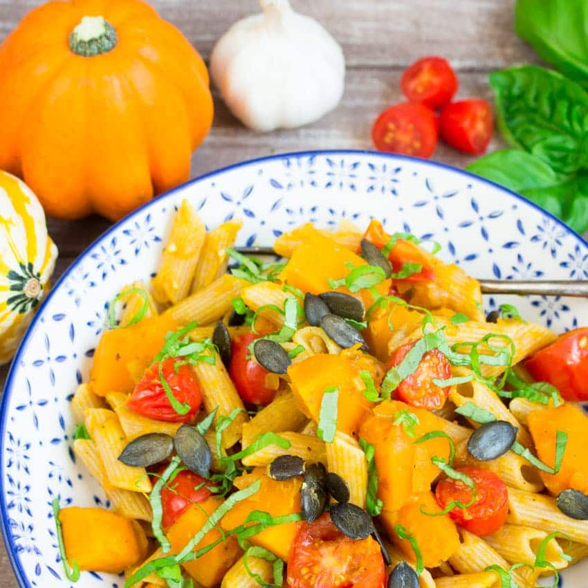 Pumpkin Pasta with Tomatoes and Basil