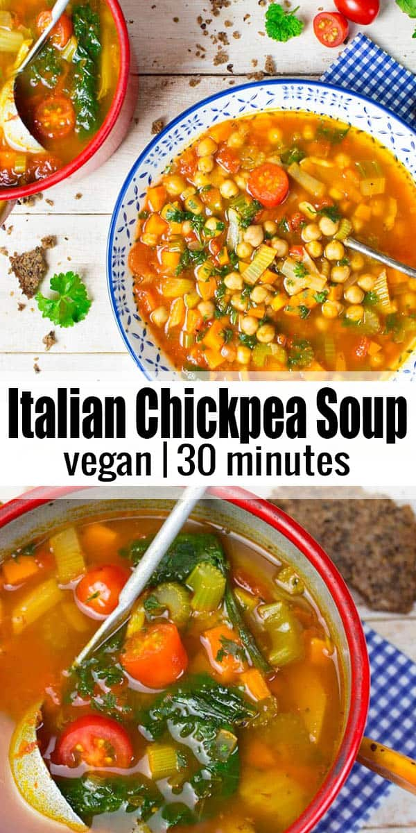 This vegan Italian chickpea tomato soup is one of my all-time favorite vegan soups or vegetable soups in general! It's super easy to make, incredibly delicious, and packed with protein! It's a great vegan recipe for busy weekdays. You can even make it ahead. SO good! <3 | veganheaven.org