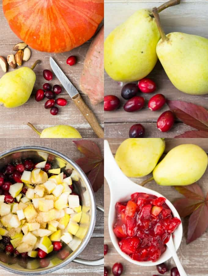 4 step-by-step photos of the preparation of cranberry pear sauce
