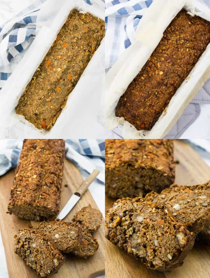 four step-by-step photos of the preparation of a vegan lentil loaf (lentil loaf in a loaf pan before and after baking)