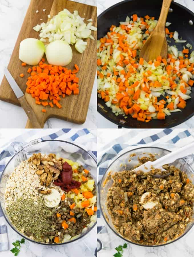 four step-by-step photos of the preparation of a vegan lentil loaf (onions and carrots are being sautéed and the mixture is a in a food processor)