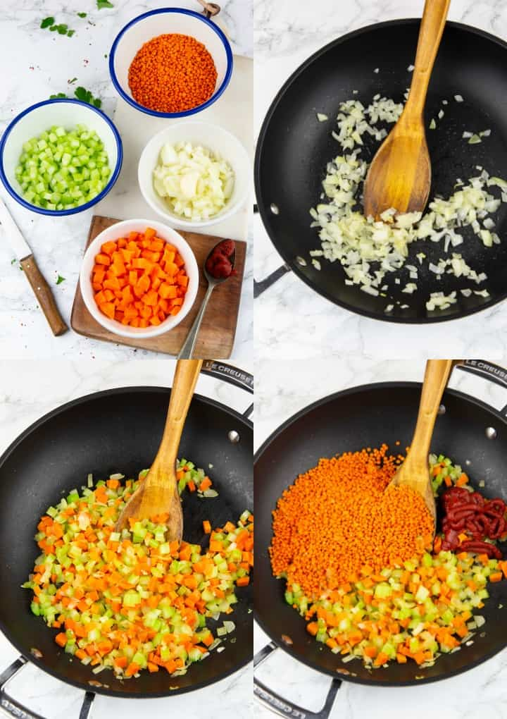 a collage of four photos that show the preparation of lentil bolognese