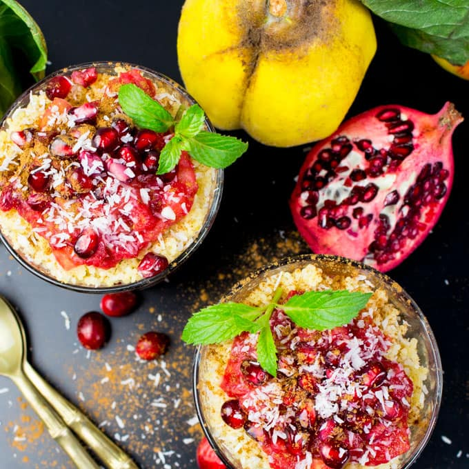 Millet Porridge with Cranberries and Quince Fruit