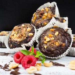 Peanut Butter Chocolate Zucchini Muffins