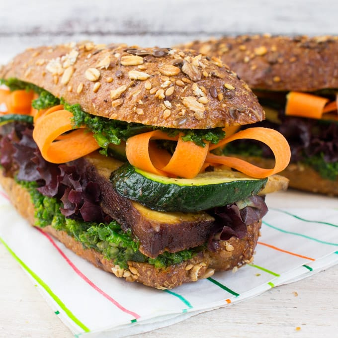 Tofu and Kale Pesto Sandwich