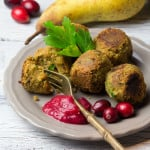 Festive Vegan Falafel with Cranberry Pear Dip