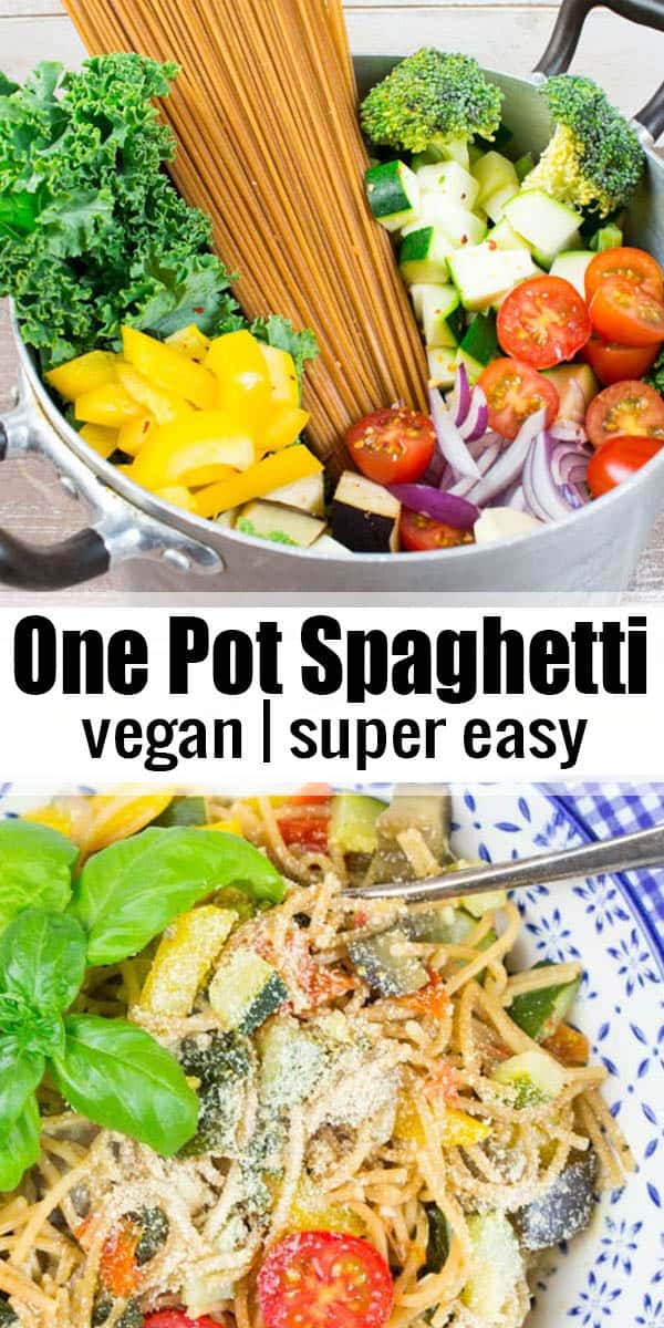 This vegan one pot pasta with vegetables is so delicious and easy to make! It's ready in only 20 minutes and super healthy! #veganpasta #onepotpasta #spaghetti