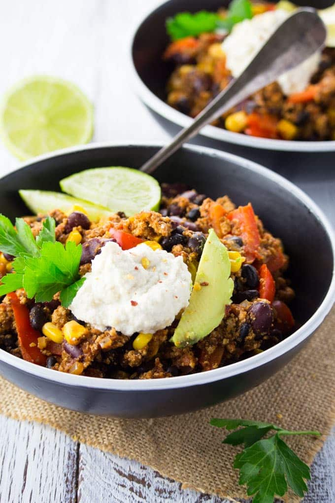 Spicy Vegan Tofu Chili with Sour Cream
