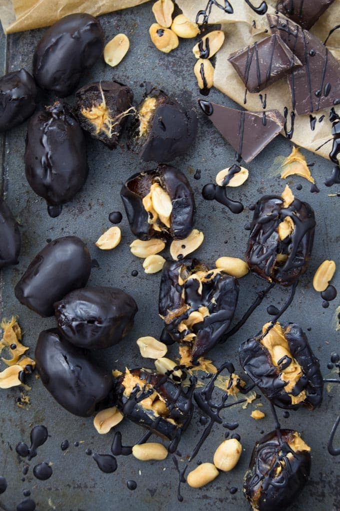 Peanut Butter Stuffed Dates with Chocolate
