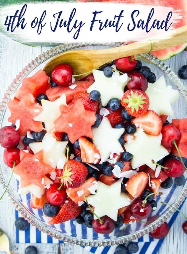 This 4th of July fruit salad is the perfect recipe for Independence Day! It's super easy to make, fresh, and delicious! One of my favorite red, white, and blue recipes! #4thofJuly #July4 #independenceday