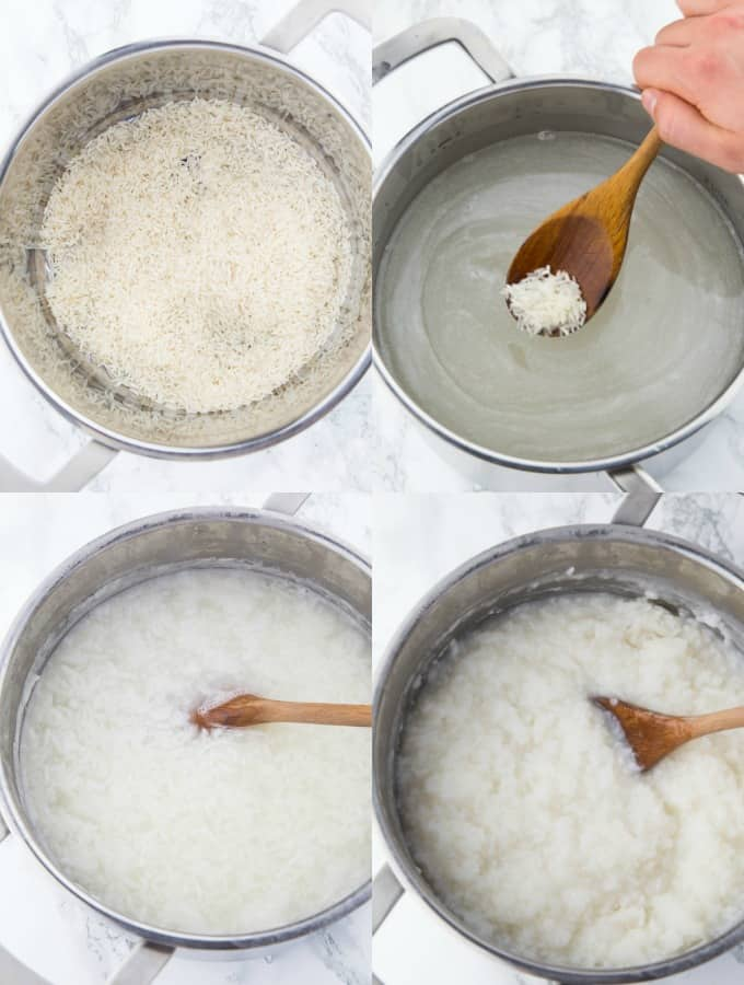a collage of four step-by-step photos of making congee