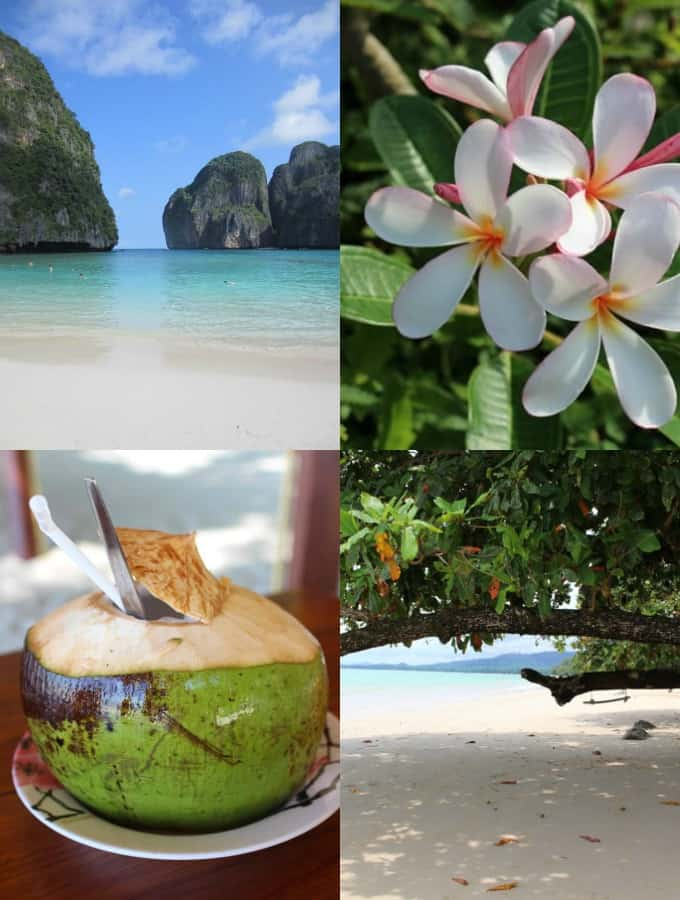 a collage of four photos of our trip to Thailand, where I first tried congee