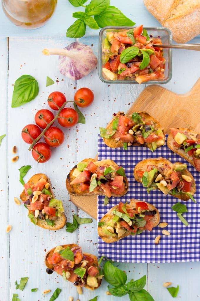 Tomato and Avocado Bruschetta