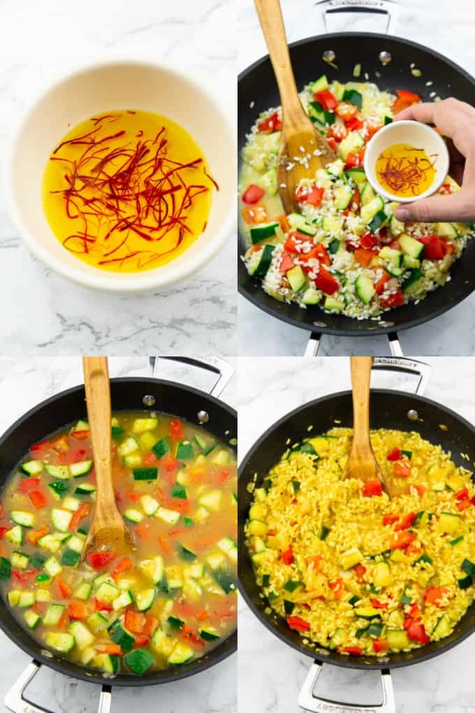 a collage of four photos that show the preparation of vegan paella