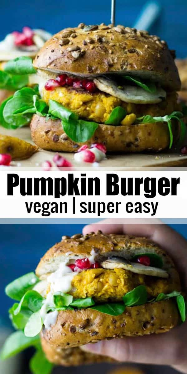 This pumpkin burger with vegan garlic mayonnaise is one of my favorite vegan burgers for fall! I love serving it with lamb's lettuce, pomegranate, and mushrooms. SO good! Find more of my vegan recipes @veganheaven.org <3