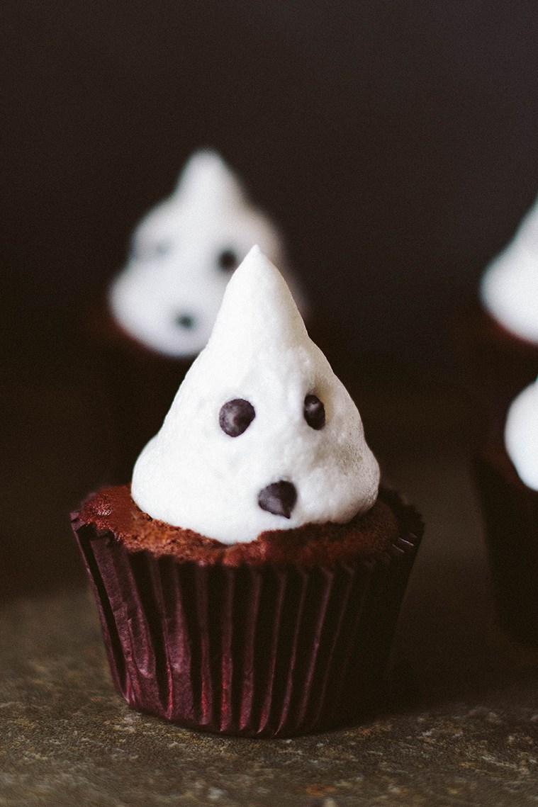 Vegan Dark Chocolate Cupcakes with Marshmallow Ghosts