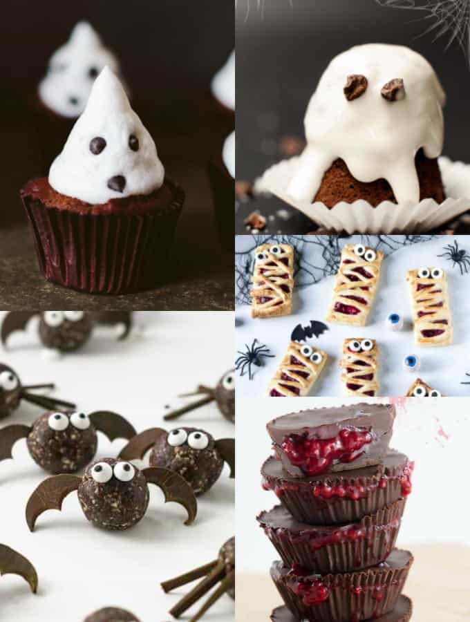 a collage of vegan five vegan Halloween recipes