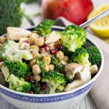 Veggie Salad with Broccoli and Mushrooms