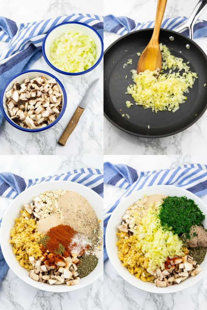 a collage of four step-by-step photos that show the preparation of mushrooms burgers