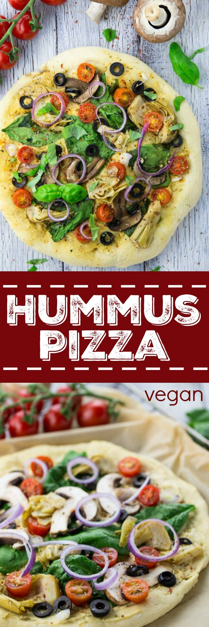 Hummus Pizza with Veggies - Vegan Heaven