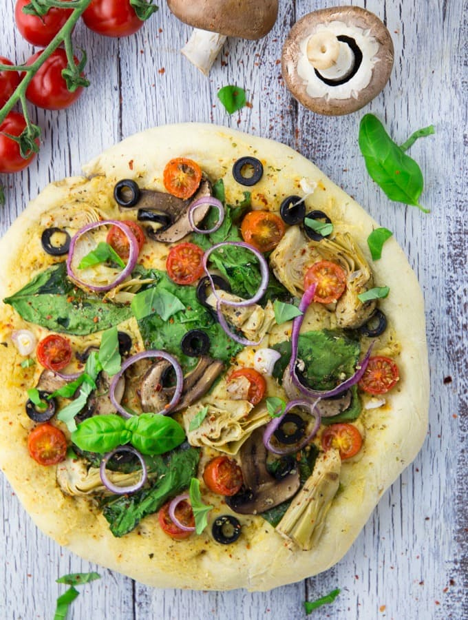 Hummus Pizza with Veggies