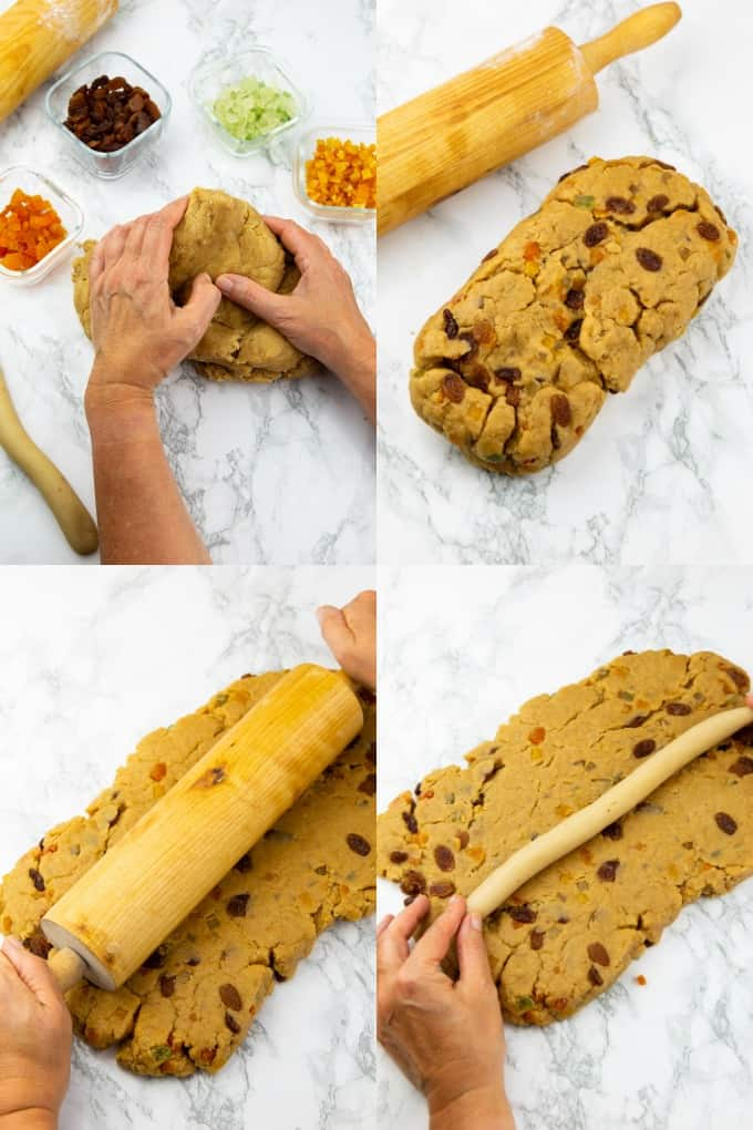 a collage of four photos that show the preparation of stollen