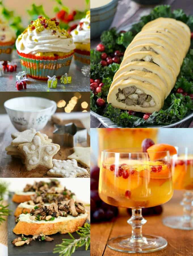 a collage of five vegan Christmas recipes