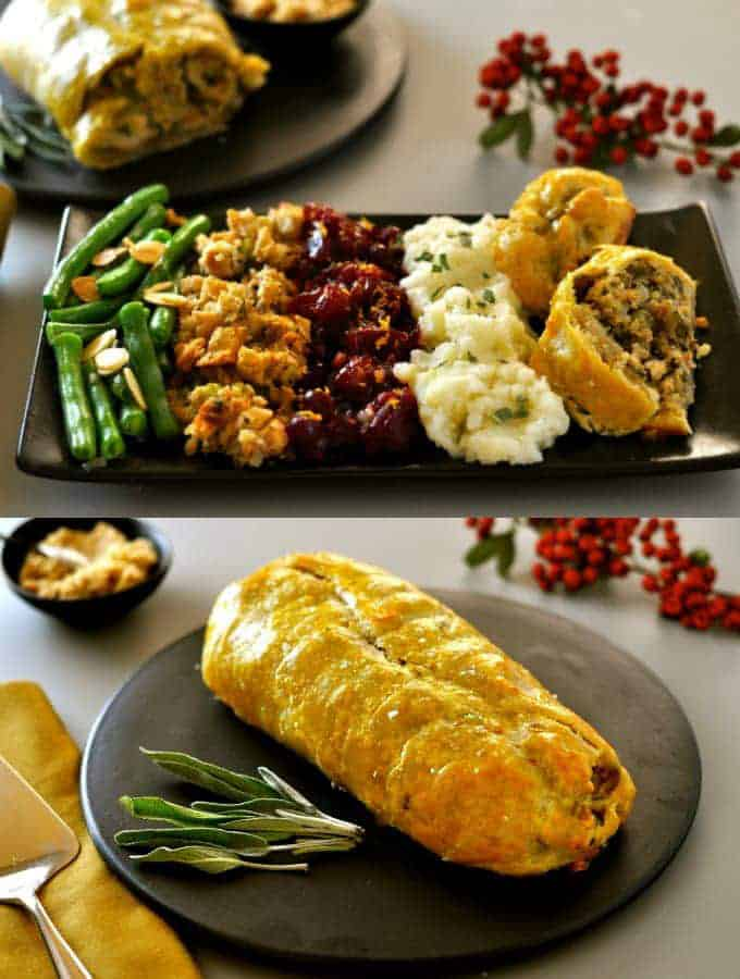 two photos of a vegan roast wellington as a whole loaf and cut into slices with green beans, cranberry sauce, and mashed potatoes