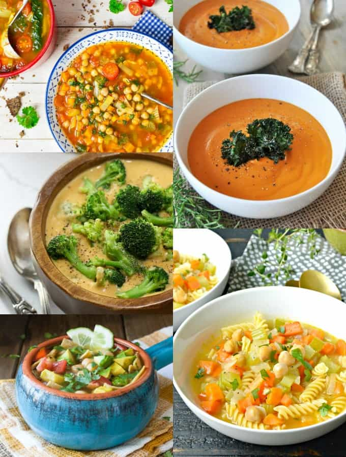 a collage of five vegan soup recipes