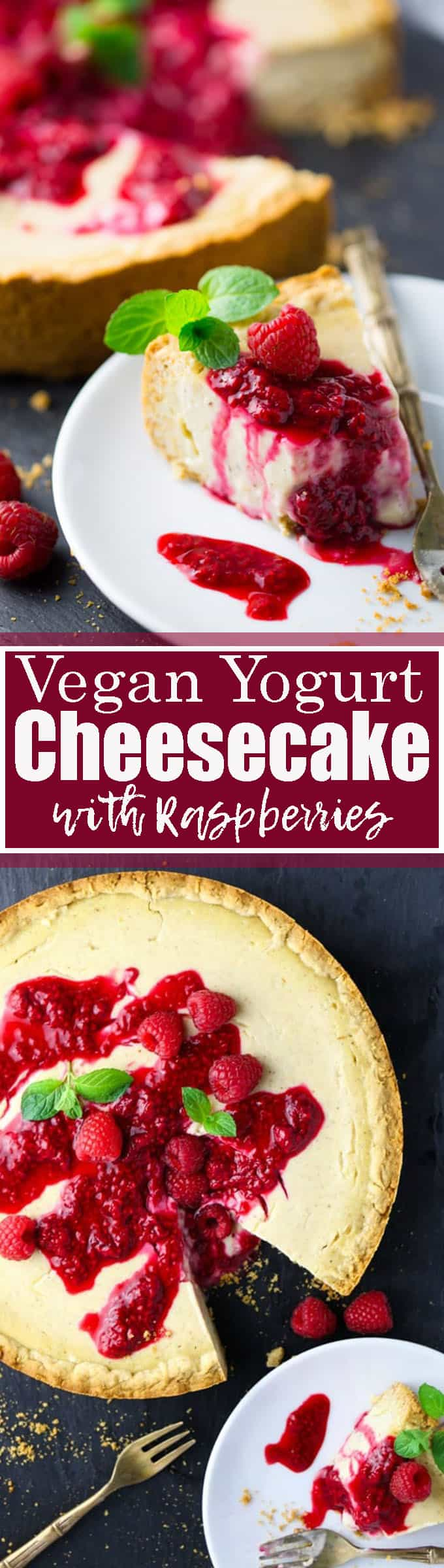 If you're looking for vegan cakes, you'll love this vegan cheesecake with raspberry sauce! Unlike many other vegan cheesecake recipes it's baked and not made with cashews. Find more vegan dessert recipes at veganheaven.org