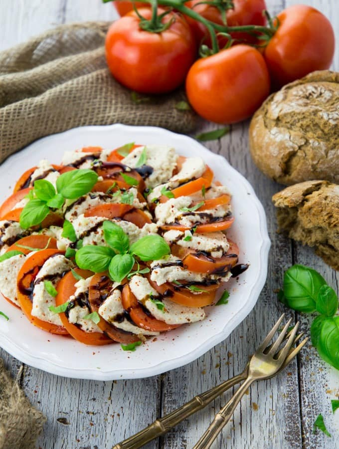 Vegan Mozzarella Cheese with Tomatoes (Caprese)
