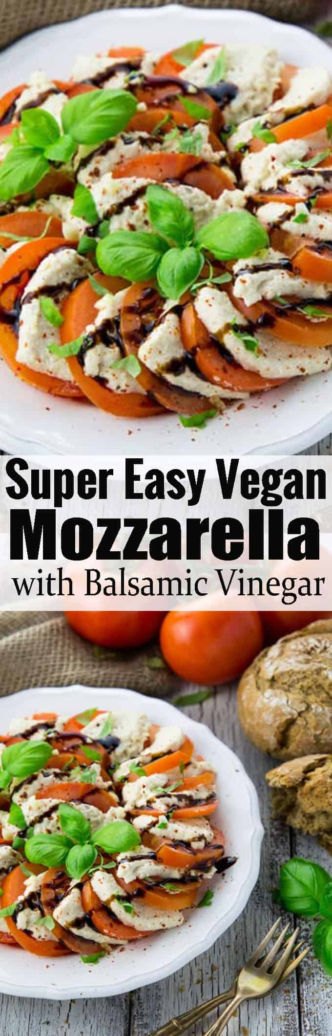 If you're looking for vegan cheese recipes, you'll love this homemade vegan mozzarella! It's best with tomatoes, balsamic vinegar, and basil! Find more vegan recipes at veganheaven.org