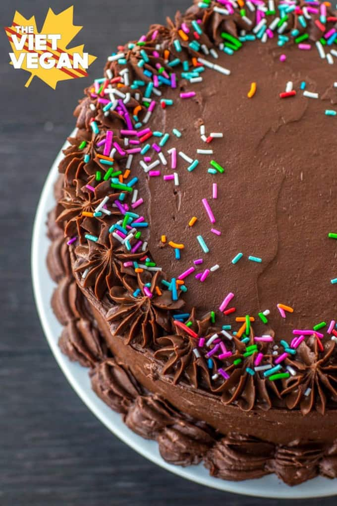 vegan chocolate cake on a white plate with sprinkles on top