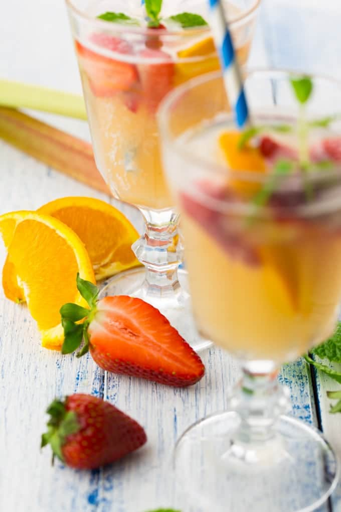 Rhubarb Cocktail with Strawberries and Mint