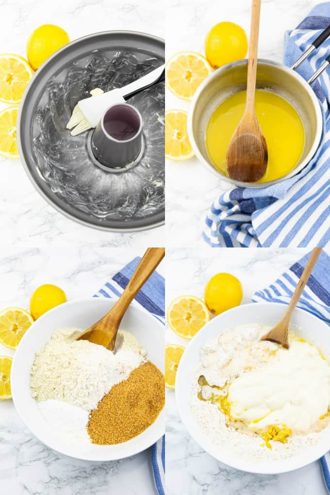 a collage of four step-by-step photos that show the preparation of a vegan lemon cake