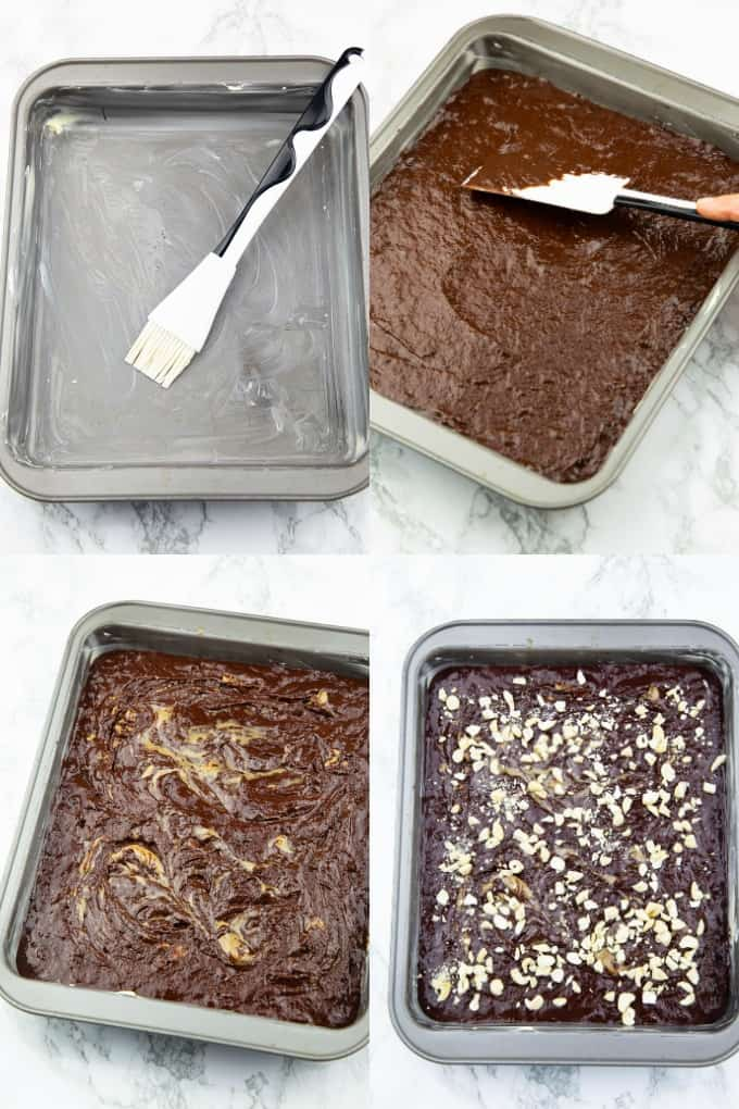 a collage of four photos that show the preparation of vegan brownies
