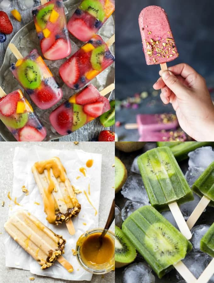a collage of four vegan popsicle recipes
