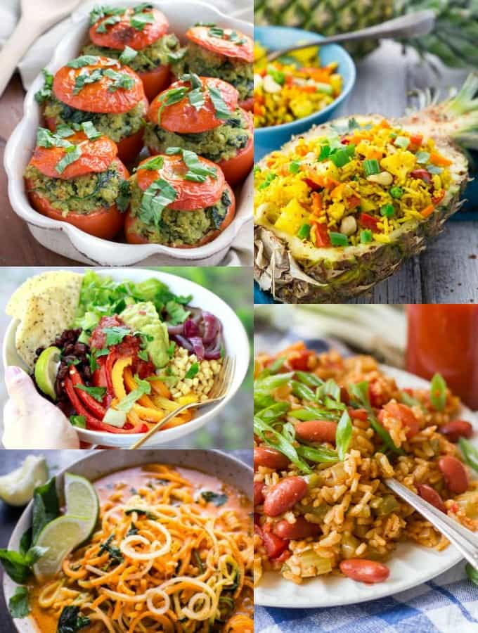 35 easy vegan weeknight dinners vegan heaven a collage of five easy vegan dinner recipes forumfinder Images
