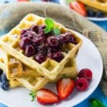 Eggless Waffles with Cherry Sauce (Vegan)