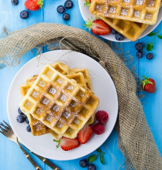 Eggless Waffles with Cherry Sauce (Vegan)