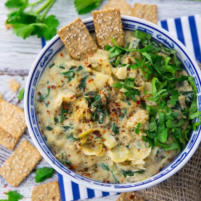 Vegan Spinach Dip with Artichokes - Super Creamy! - Vegan ...